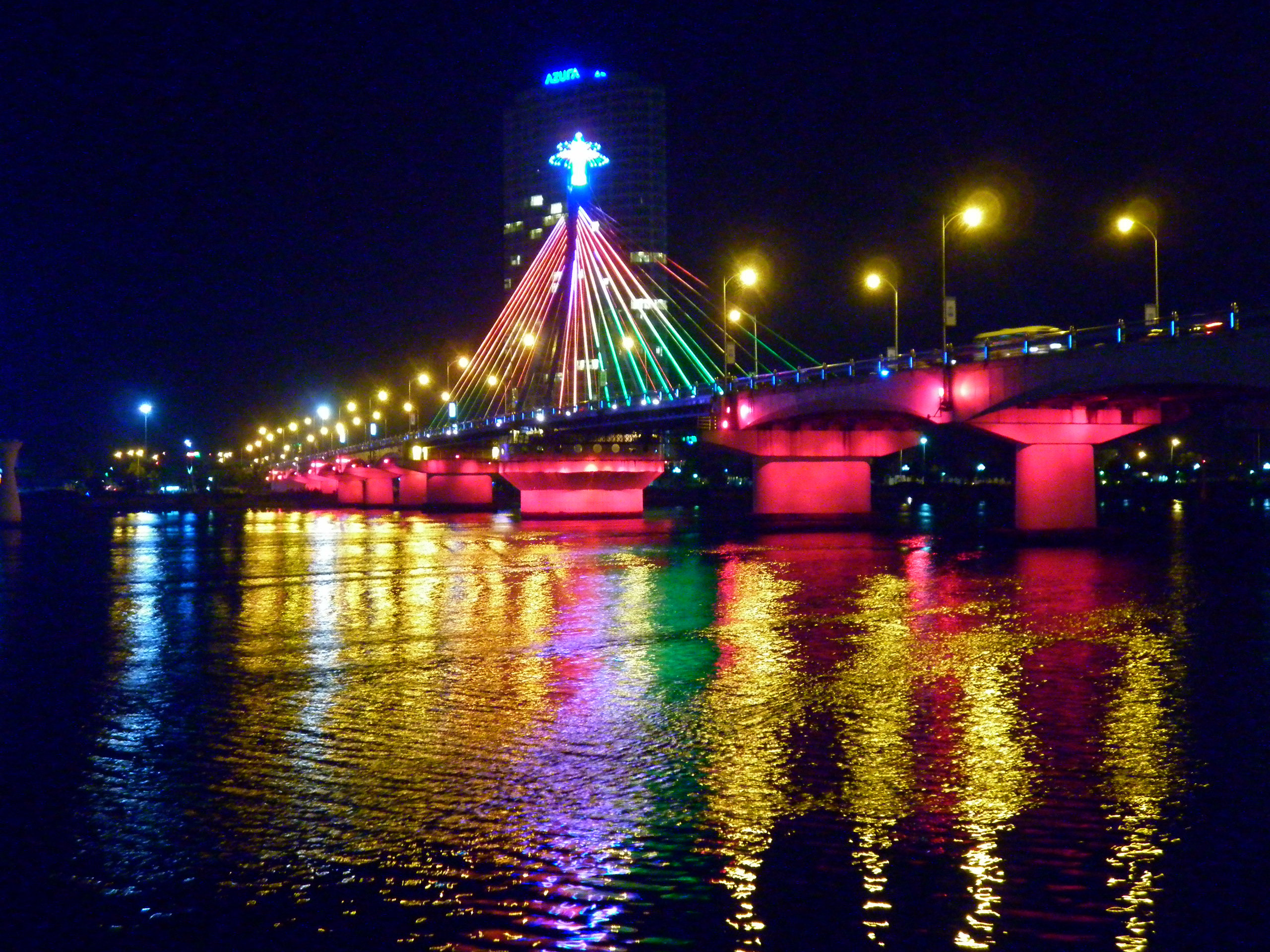 The Cau Rong bridge over the Han River in the city center of Da Nang on the central coast of Vietnam.