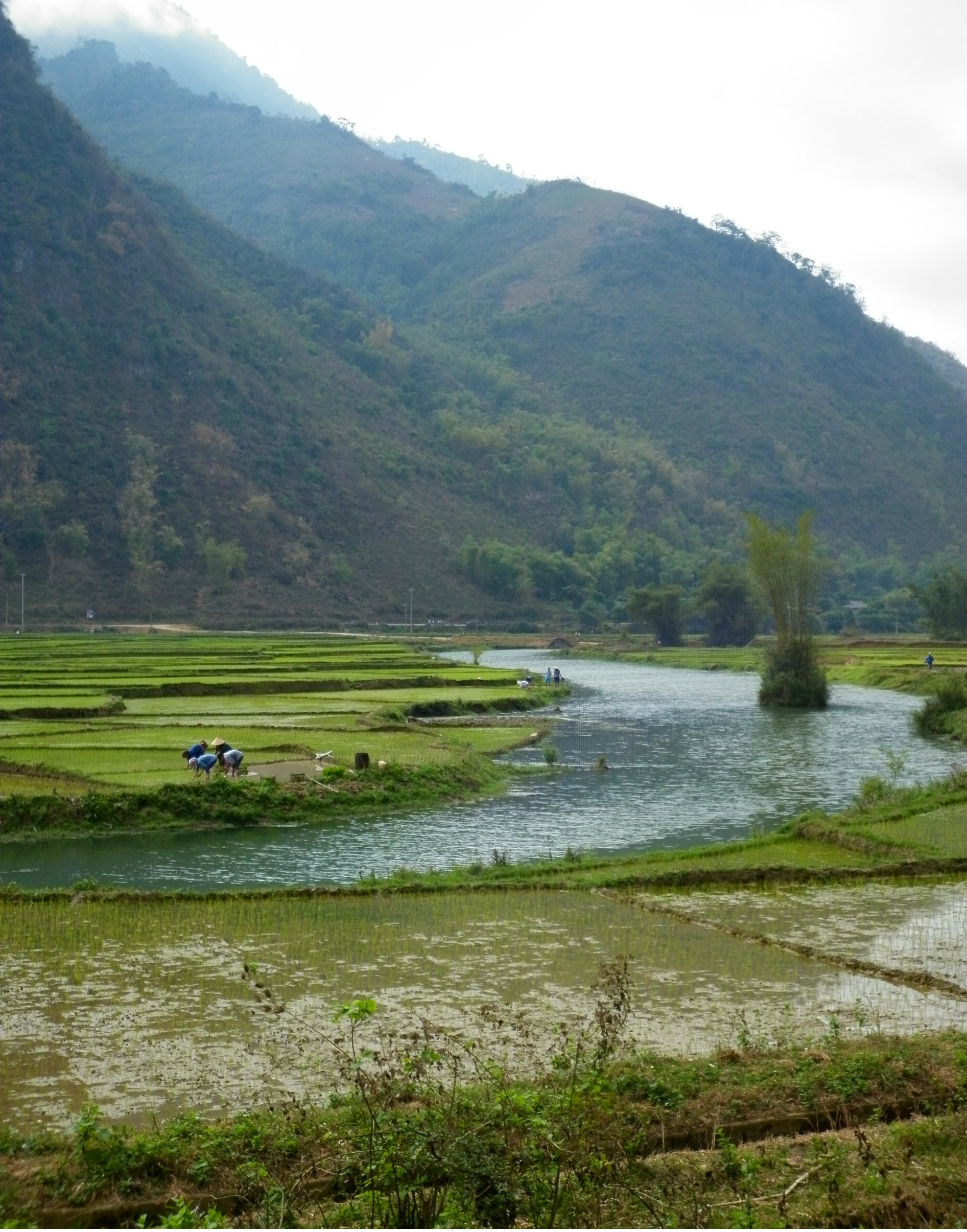 The Ma River running through the valley in Mai Chau in Northwest Vietnam.